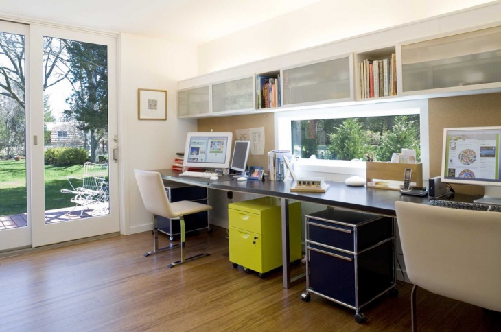 modern home office with custom made cabinets