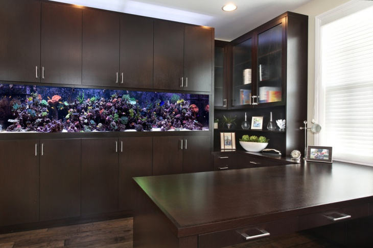 custom designed cabinetry in office