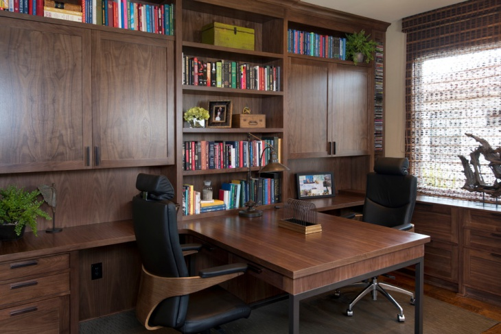 home office with spacious cabinets