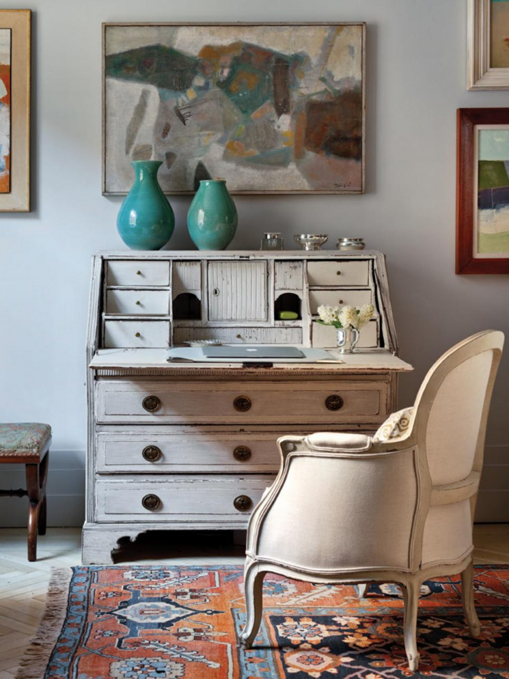 work space with vintage inspired furniture
