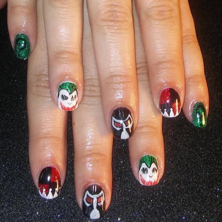 batman nail art for short nails