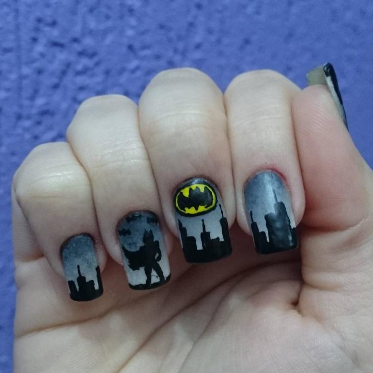 black and grey colored batman nail art