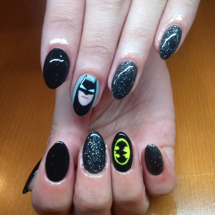Gel Glittered Batman Nail Art - 20+ Batman Nail Art Designs, Ideas Design Trends - Premium PSD