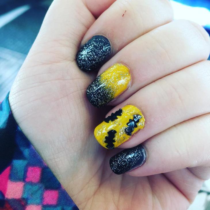 batman nail design for cute nails