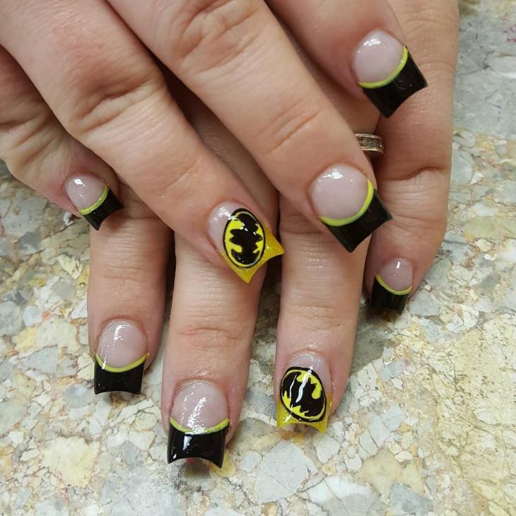 glorious batman nail design