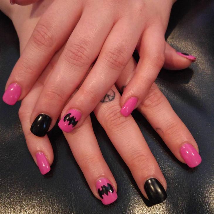 pink and black batman nail art
