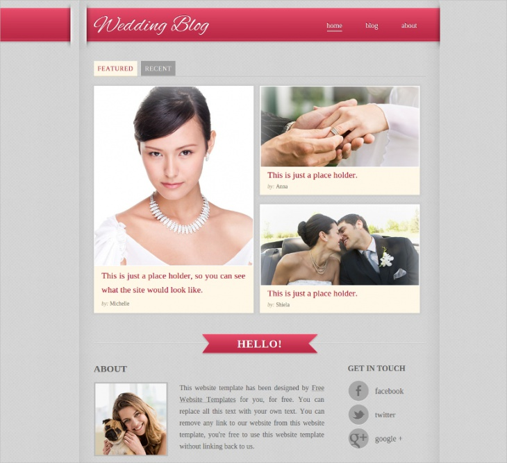 wedding blog website template