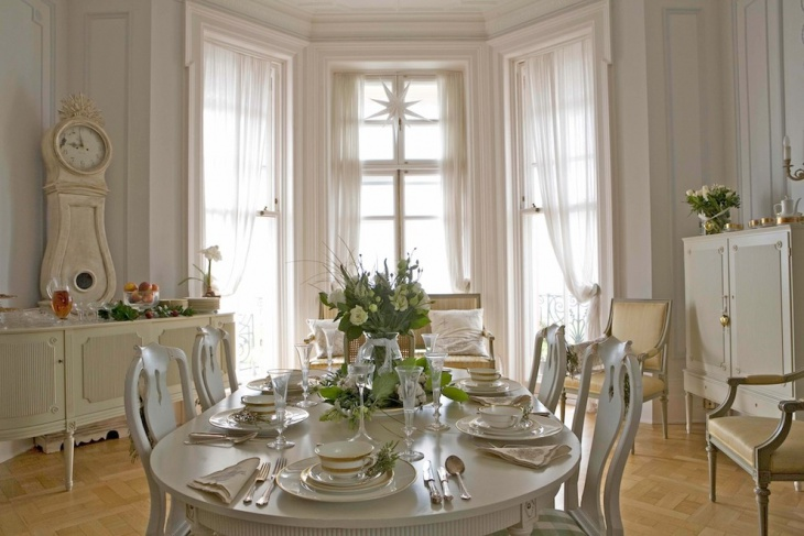 swedish designed furniture in dining room