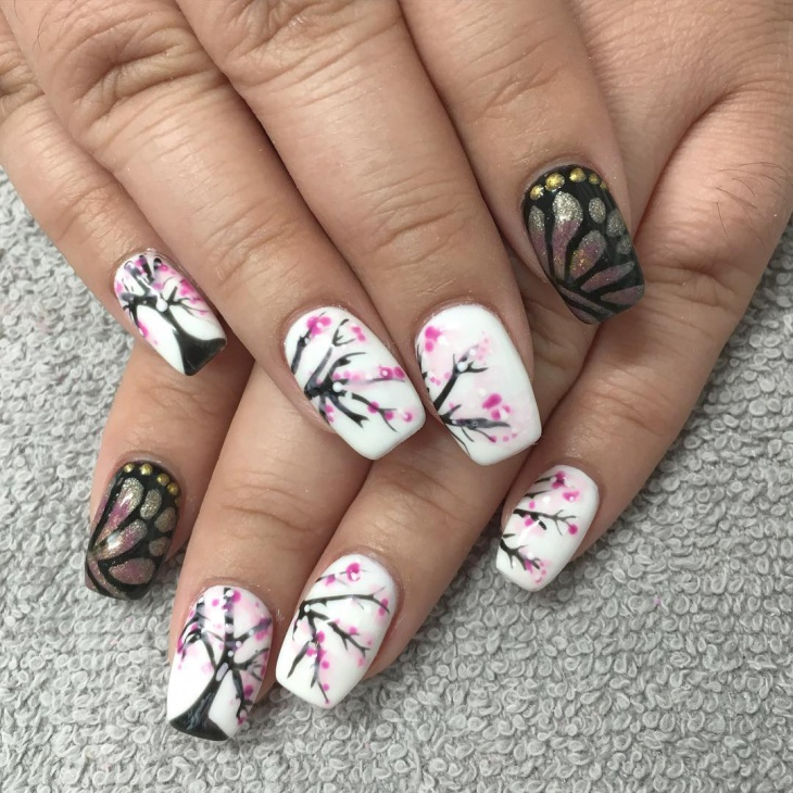 Cute Cherry Blossom Nail Art