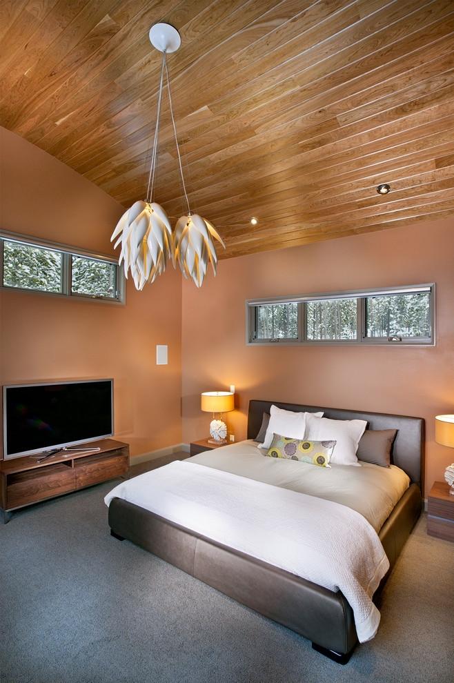 Palette Bedroom Design with Cherry Wood Ceiling