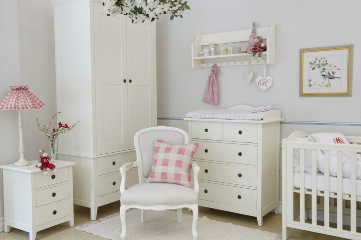 traditional kidsroom with white painted furniture