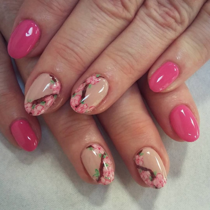 Pink Blossom Nail Art Design