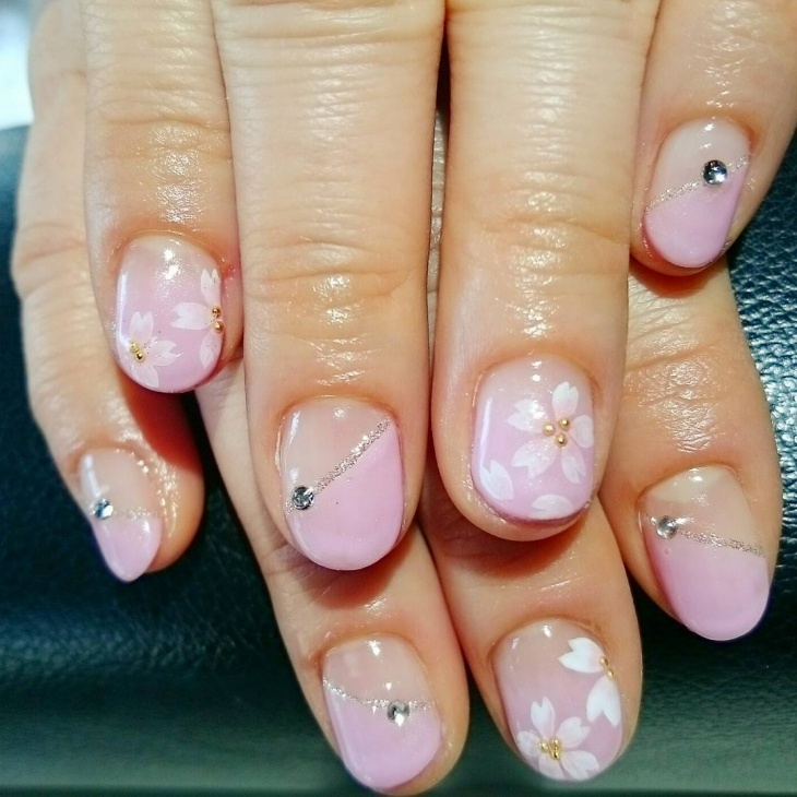 Gorgeous Cherry Blossom Nail Art