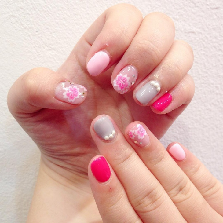 Pink Cherry Blossom Nail Ideas