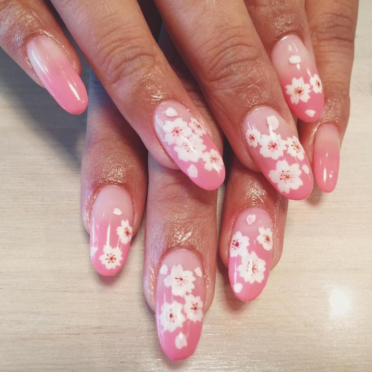 blossom print nail design