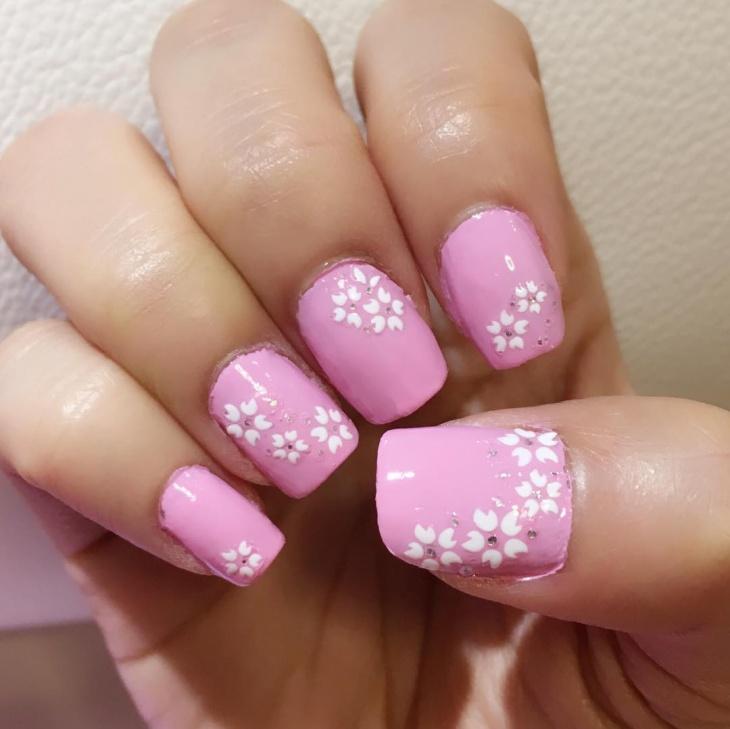 pink blossom nail art