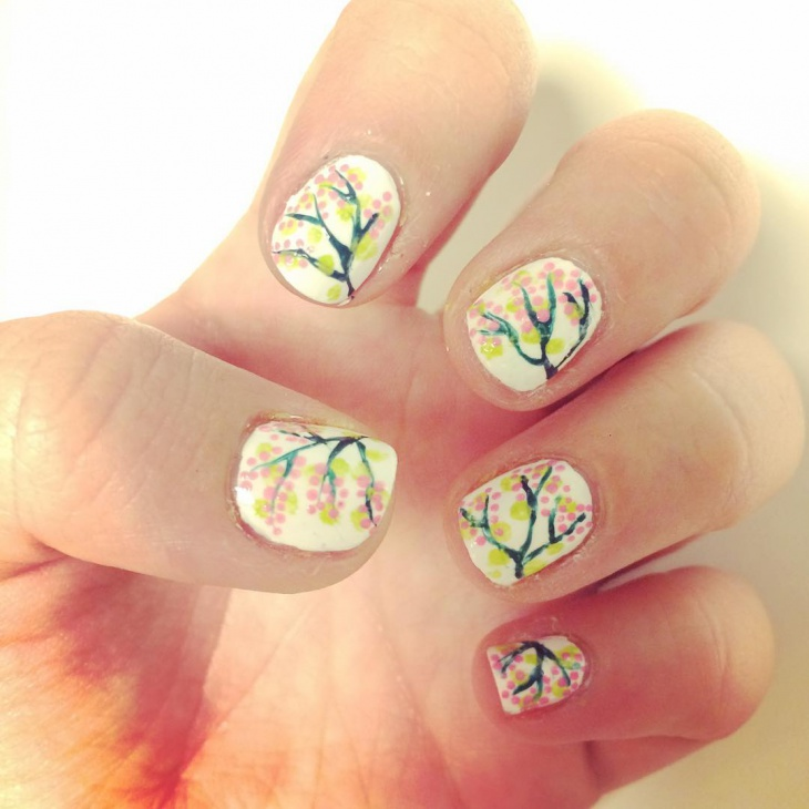 Cherry Blosom Tree Nail Art