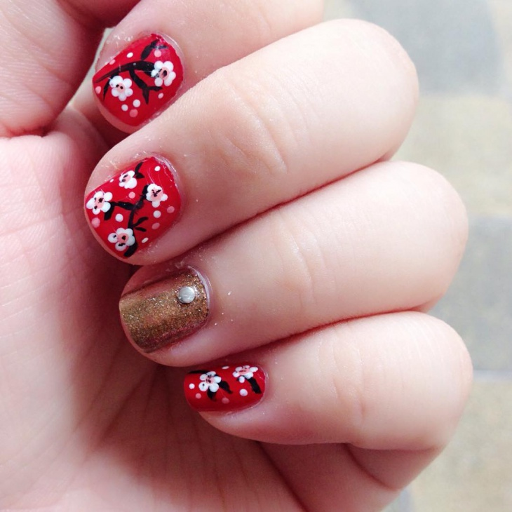 Red and Gold Cherry Blossom Nail Art