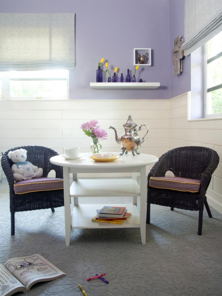 purple cottage kids room with miniature furniture