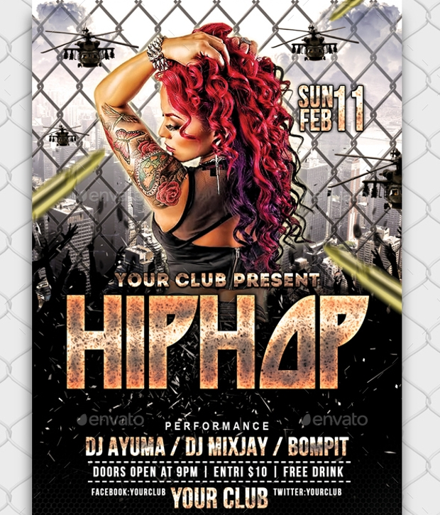 Hip Hop Club Flyer Design
