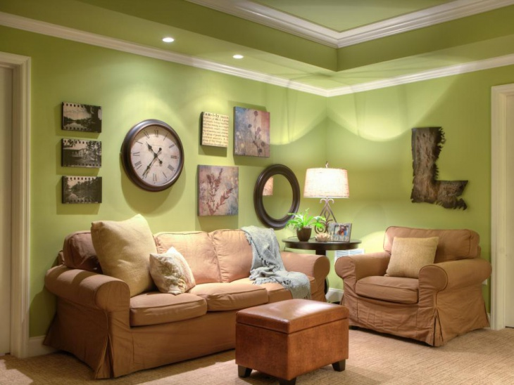 Green Cottage Living Room With Slipcovered Furniture