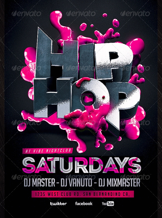 Elegant Flyer Design of Hip Hop