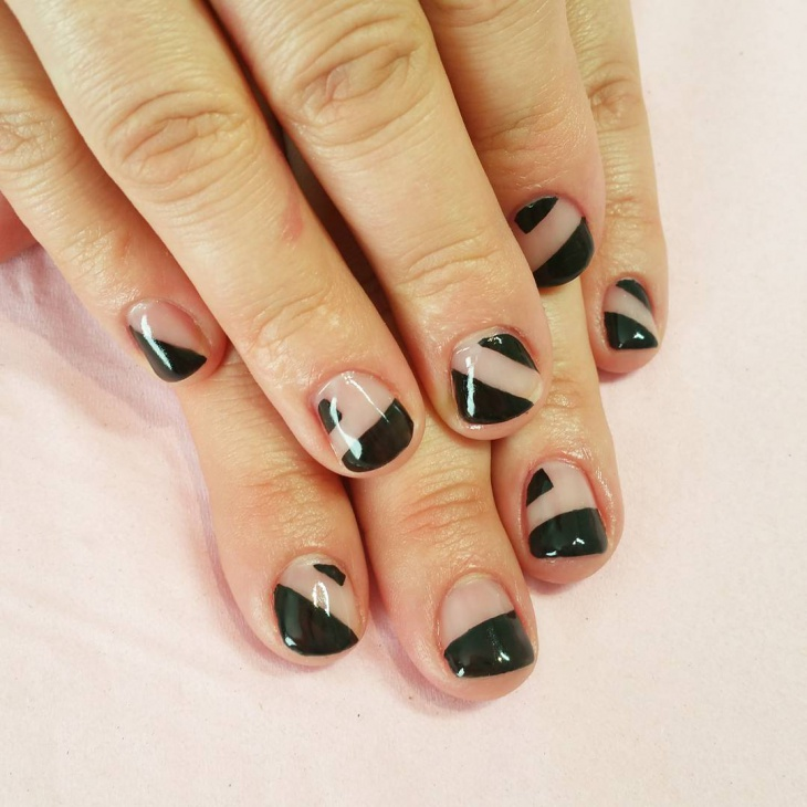 Black and White Geometric Nail Art