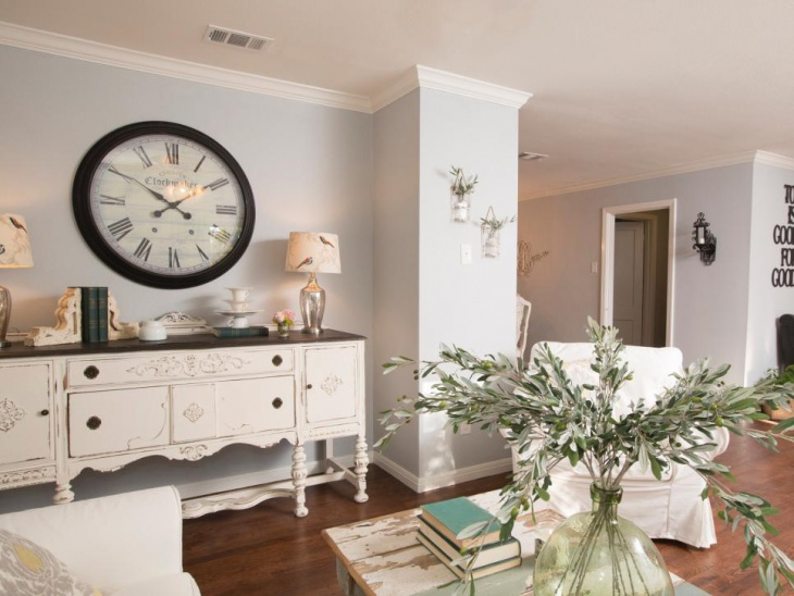 shabby chic living space with furniture