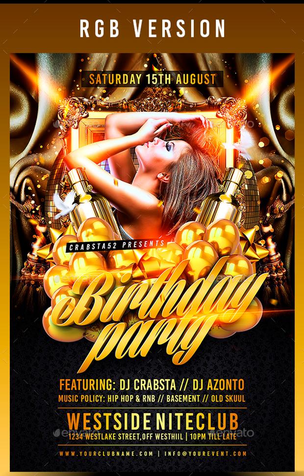 29   attractive birthday party flyer psd designs