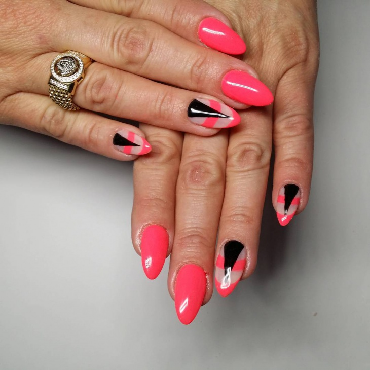 Black and Pink Gel Nail Art