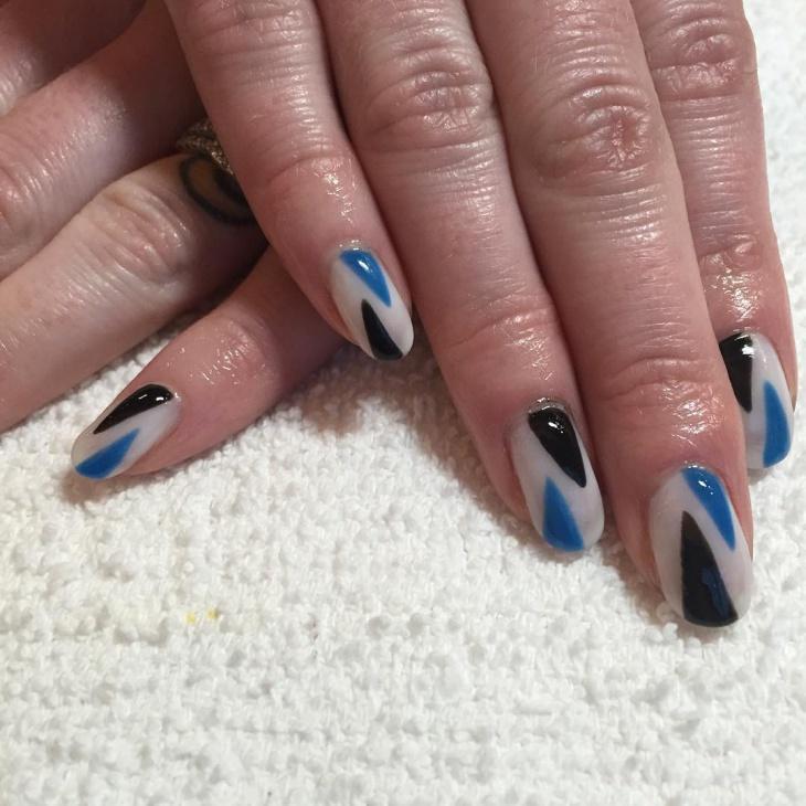 Glossy Geometric Nail Design