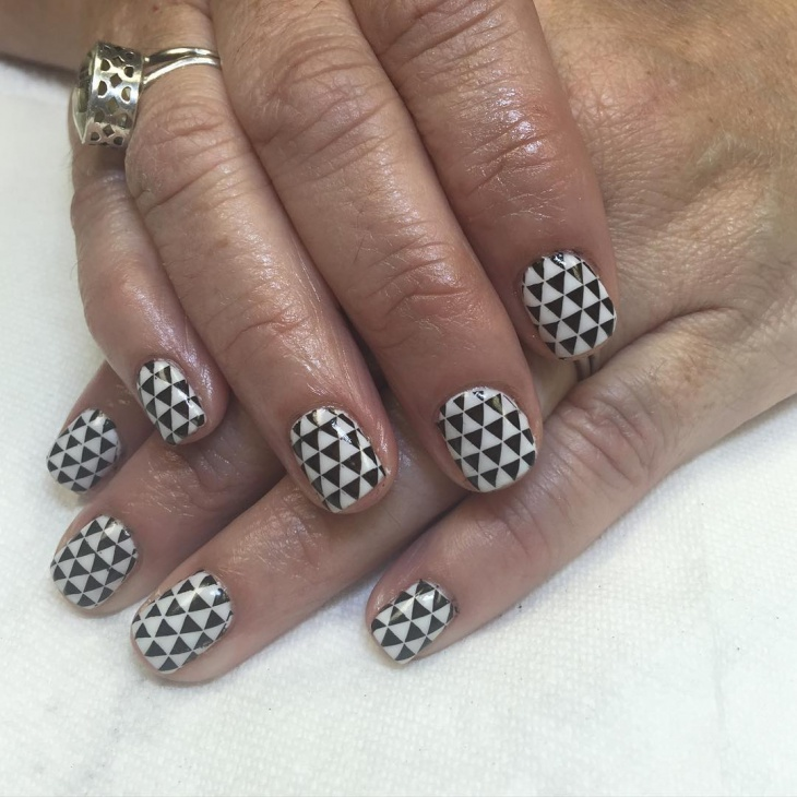 White and Black Checked Nail Design