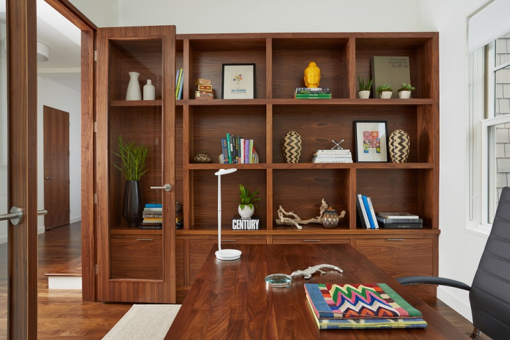 Contemporary Home Office with Wooden Furniture