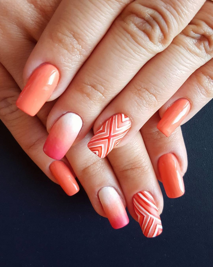 Orange Striped Nail Design