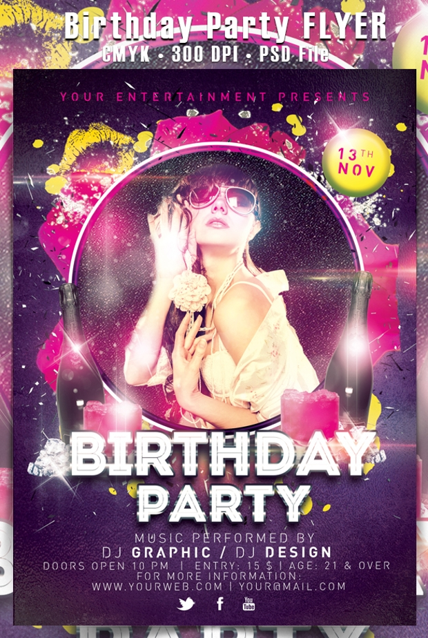29 Attractive Birthday Party Flyer Psd Designs Word