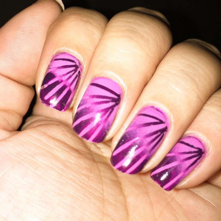 purple lined nail art