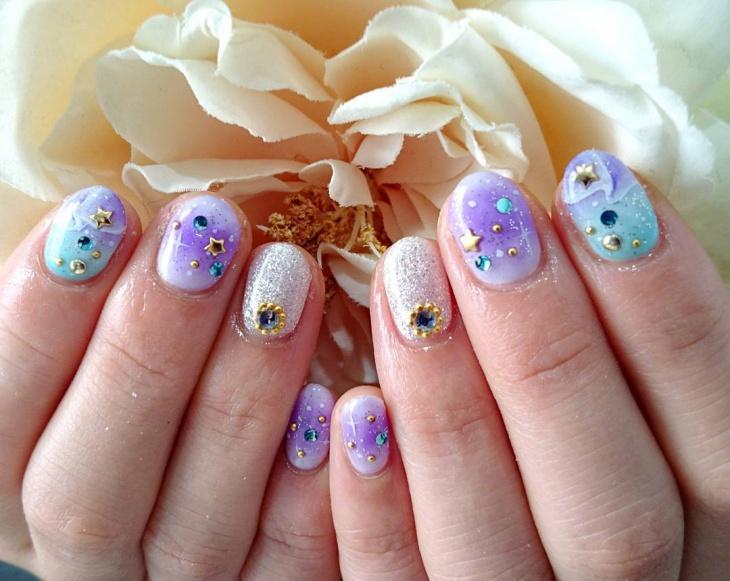 rhinestone purple nail art