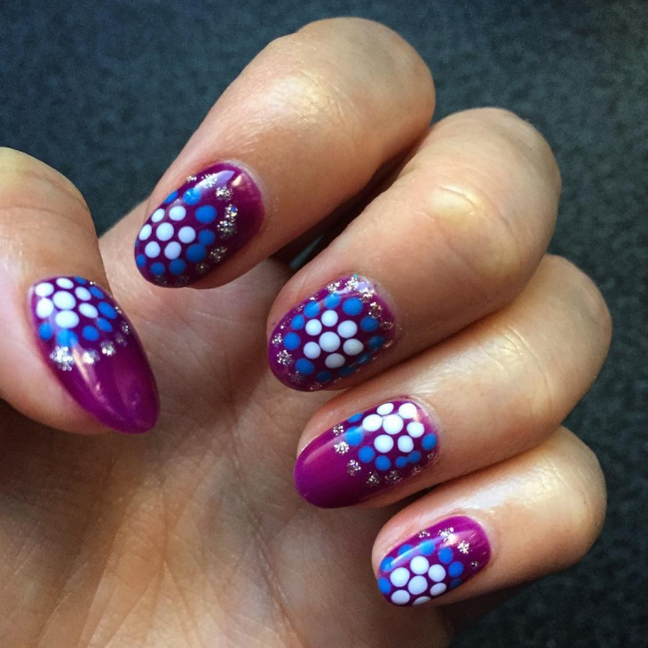 dotted purple nail design