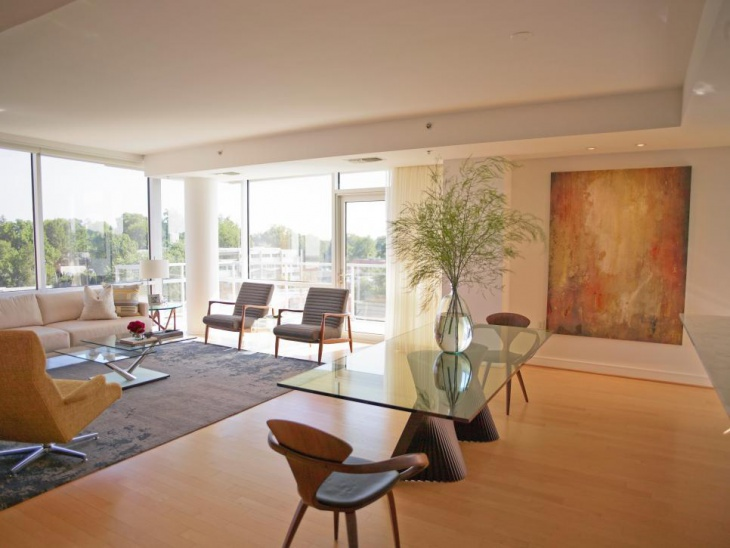 Midcentury modern furniture fits nicely in Living room