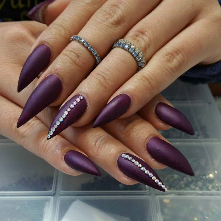 Dark Purple Nail Design for Long Nails