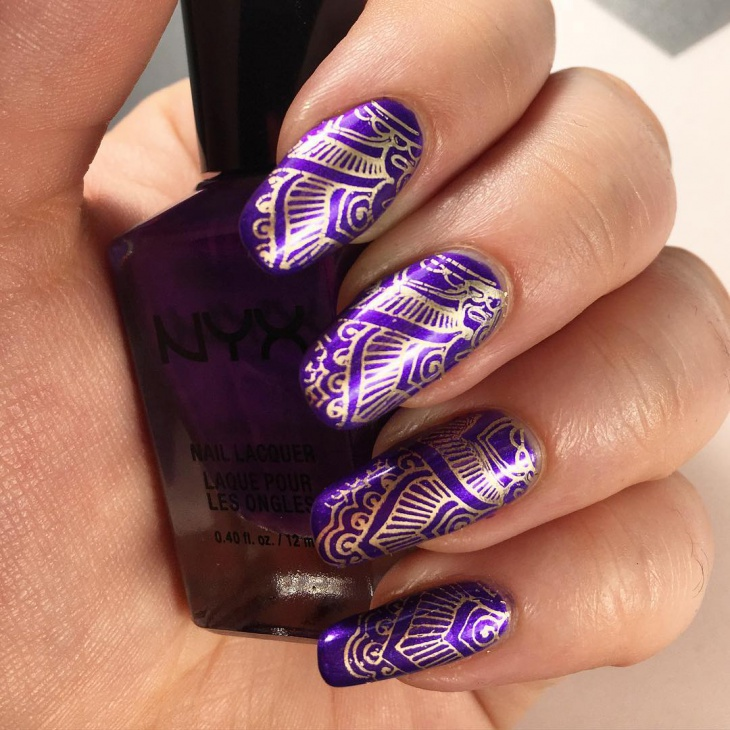 Gold Printed Purple Nail Design