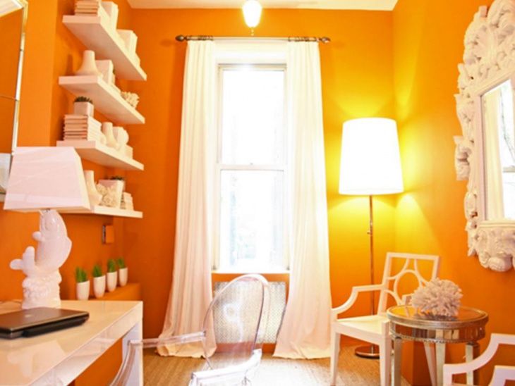 Orange Home Office With White Furniture