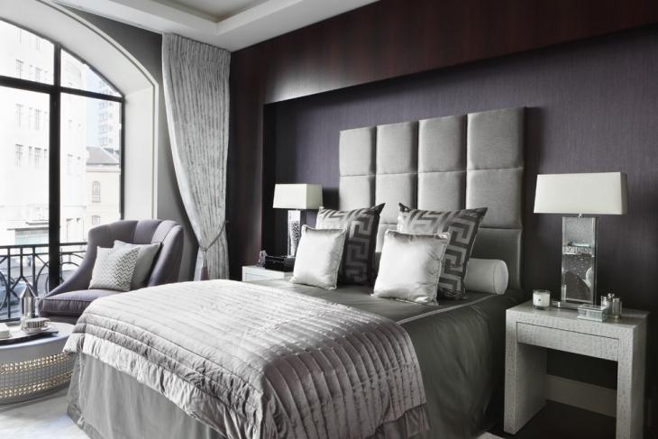 gray contemporary bedroom with velvety fabrics