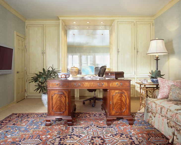 Traditional Home Office With Elegant Furniture