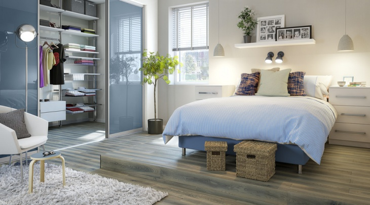 Contemporary Bedroom Design with Blue Glass Sliding Doors