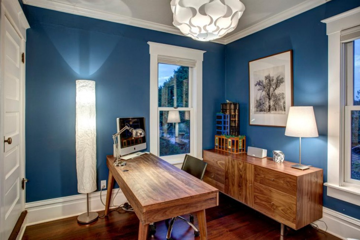 Transitional Office With Royal-Blue Walls and Wood Furniture