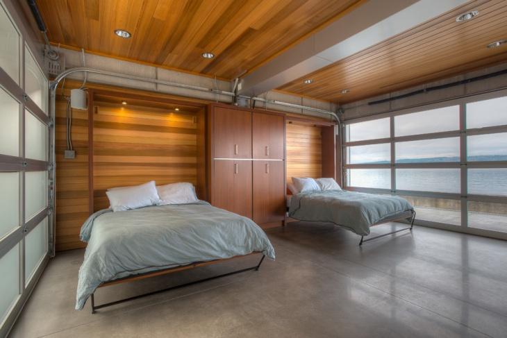 versatile bedroom design with wooden ceiling