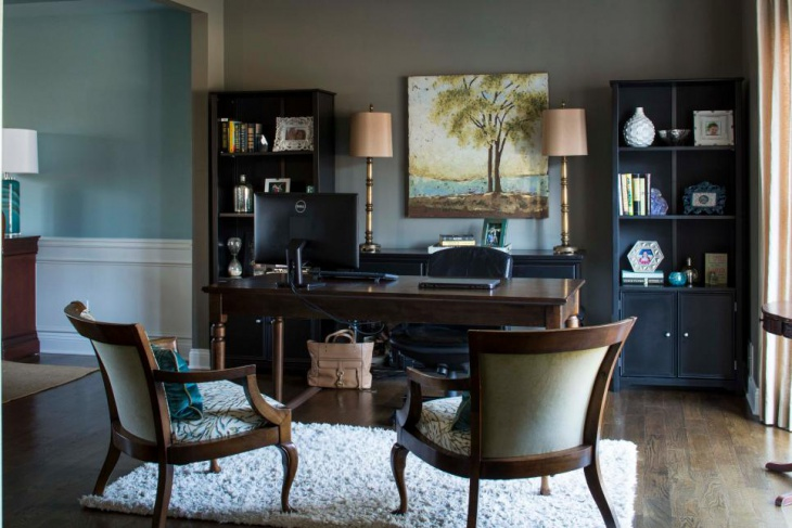 Traditional Home Office Pairs Black and Brown Furniture