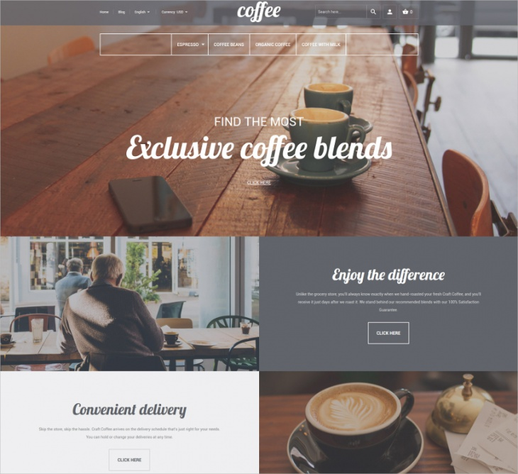Magento Coffee Shop Theme