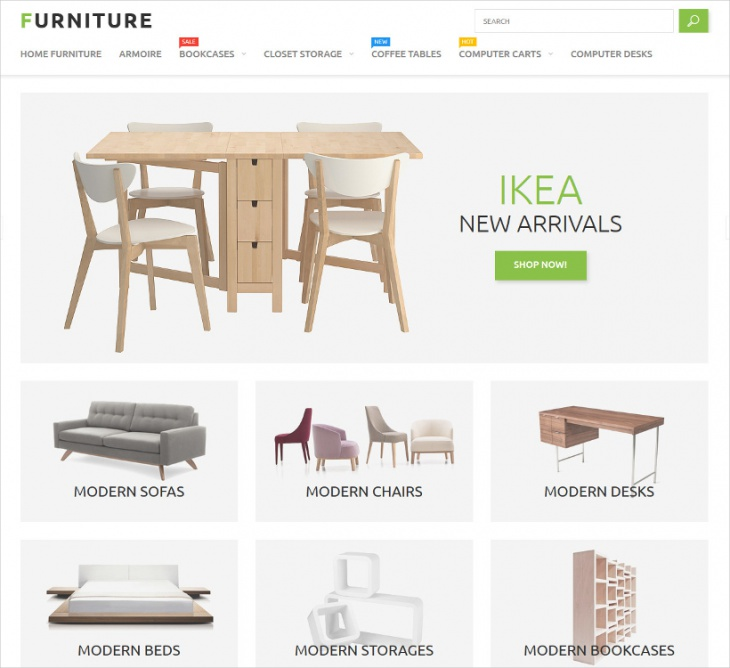 bootstrap furniture store theme
